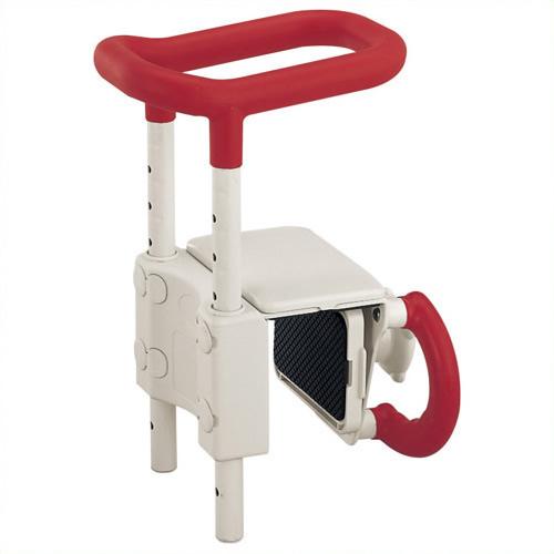 《アロン化成》 高さ調節付浴槽手すり レッド UST-130 4970210436493