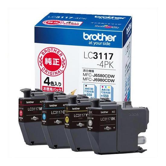 【キャッシュレス5%還元】《ブラザー》 インクカートリッジ LC3117-4PK
