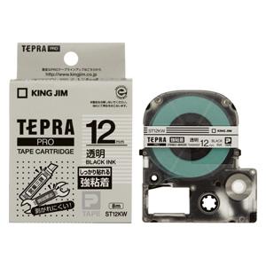 市販 キングジム テプラPROテープカートリッジ強粘着ラベル 透明 黒文字 授与 ST12KW