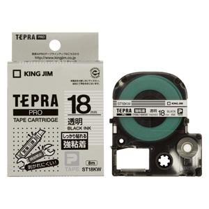 キングジム 大決算セール テプラPROテープカートリッジ強粘着ラベル 透明 ST18KW 黒文字 お得セット