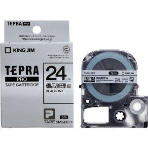 新作続 キングジム 卸売り テプラPROテープカートリッジ備品管理ラベル 銀 黒文字 SM24XC