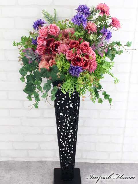 造花 スタンド花 アレンジメント アートフラワー B-362 開店祝い 新築祝い インテリア フラワースタンド