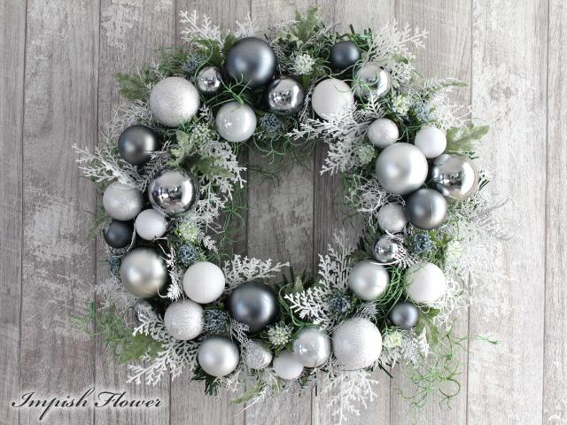 クリスマスリース【 X'MASリース】 玄関 造花 W-622