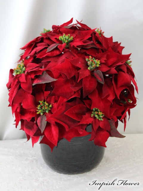 造花 ポインセチア クリスマス アレンジ M-233 インテリア アートフラワー フラワーアレンジメント