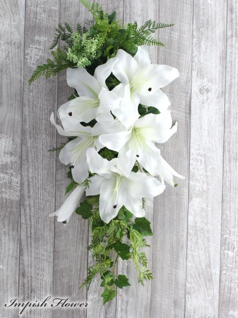 造花 リース インテリア 玄関 カサブランカ アートフラワー フラワーアレンジメント