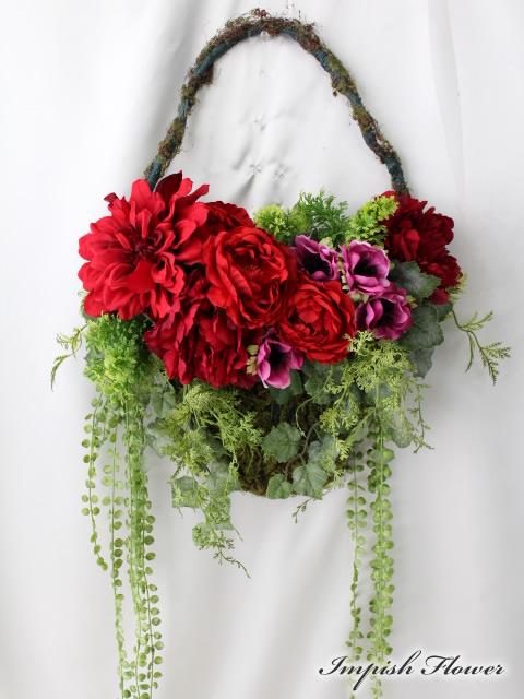 造花 リース 玄関 W-491 壁掛け アートフラワー シルクフラワー 造花リース【smtb-s】