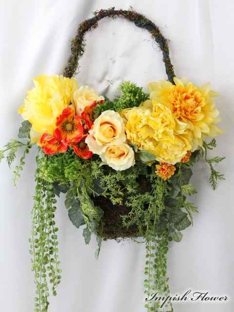 造花 リース 玄関 W-494 壁掛け アートフラワー シルクフラワー 造花リース【smtb-s】
