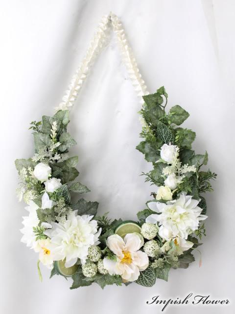 造花 リース 玄関 W-497 壁掛け アートフラワー シルクフラワー 造花リース【smtb-s】