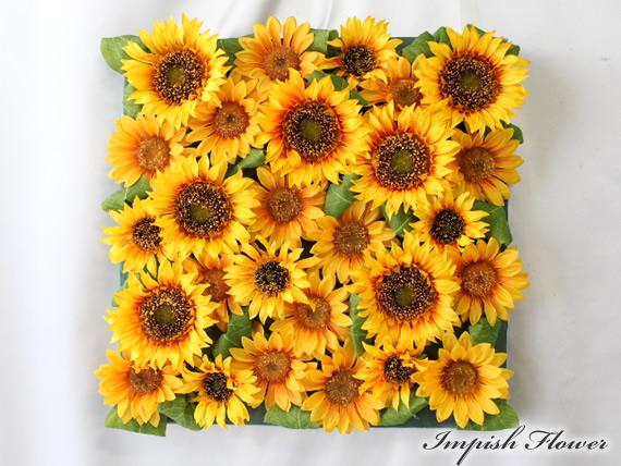 造花 ひまわり インテリア 壁掛け リース アートフラワー フラワーアレンジメント 四角
