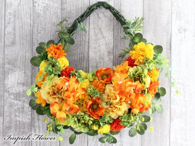 リース 造花 フラワーアレンジメント アーティフィシャルフラワー W-627 お花 プレゼント