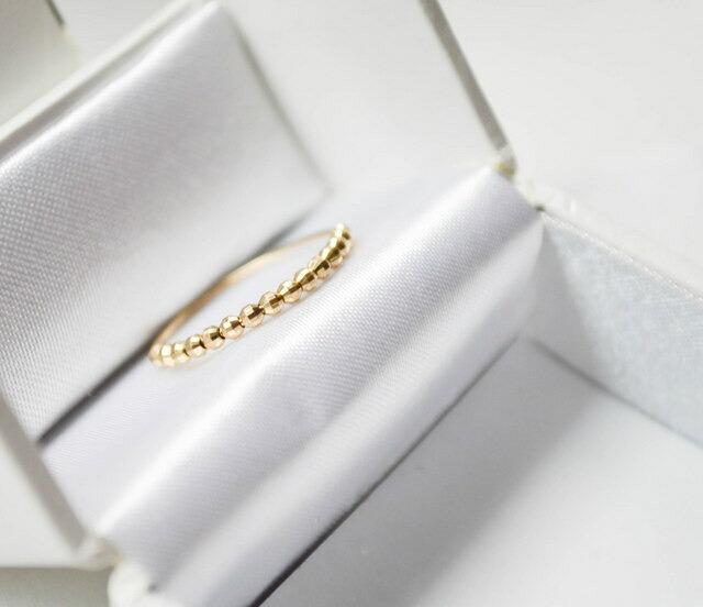 【10%OFF スーパーSALE】レディース K10 ゴールド リング naotjewelry k10 Design Cut Ball Ring