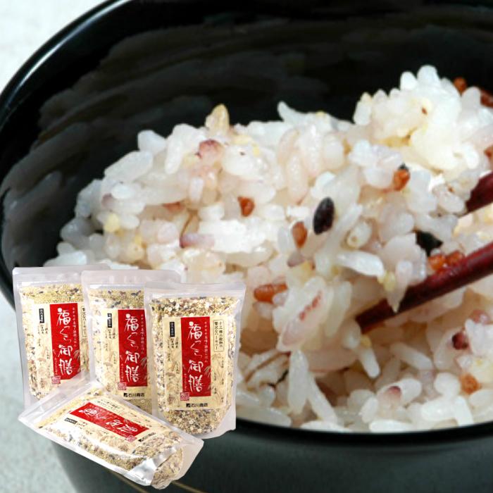 福っくら御膳は混ぜて炊くだけでふっくらモチモチした食感のご飯に。 国産 雑穀米 福っくら御膳300g×4個