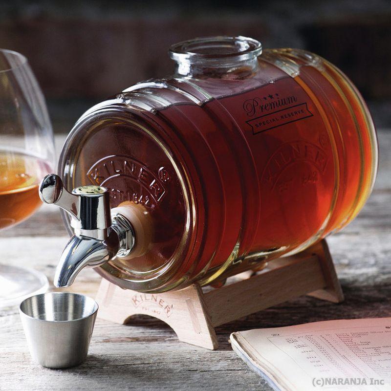 イギリスのキッチンブランド ☆送料無料☆ 当日発送可能 キルナーによる樽の形をしたガラス製のドリンクディスペンサー 樽型ディスペンサー キルナー バレルディスペンサー ウィスキーやスピリッツに ショップ 1リットル