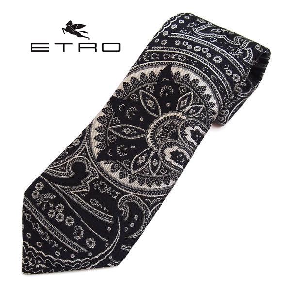 ETRO(エトロ)ネクタイ ペイズリー柄シルク(サイズ剣幅8cm) 3035-001 ブラック系