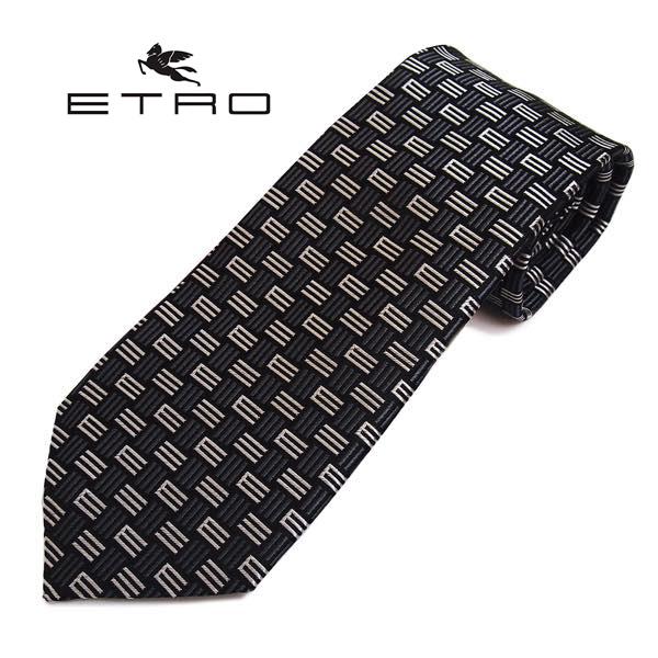 ETRO(エトロ)ネクタイ Eモノグラム柄シルク(サイズ剣幅8cm) 3078-001 ブラック系