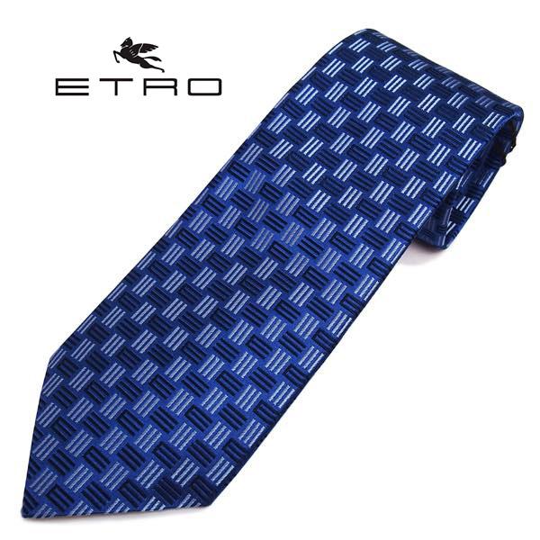 ETRO(エトロ)ネクタイ Eモノグラム柄シルク(サイズ剣幅8cm) 3078-201 ブルー系