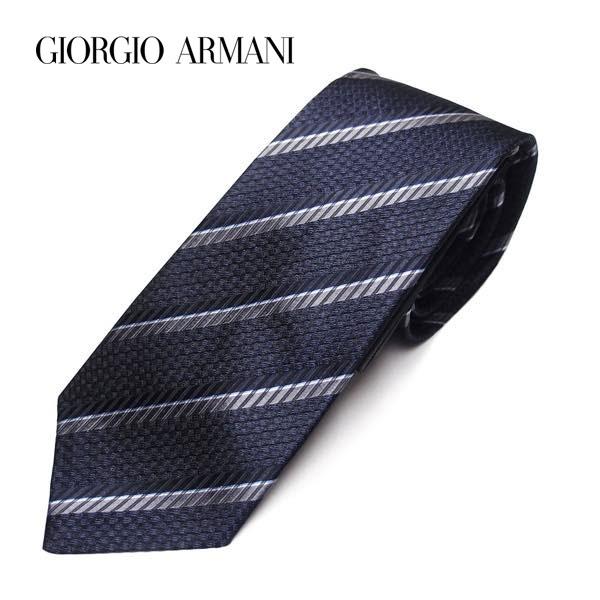 (ジョルジオアルマーニ)GIORGIO ARMANI 手触りの良い100%シルク (ジョルジオアルマーニ)GIORGIO ARMANI ストライプネクタイ レギュラータイ シルク ネイビー系 9A916 21033