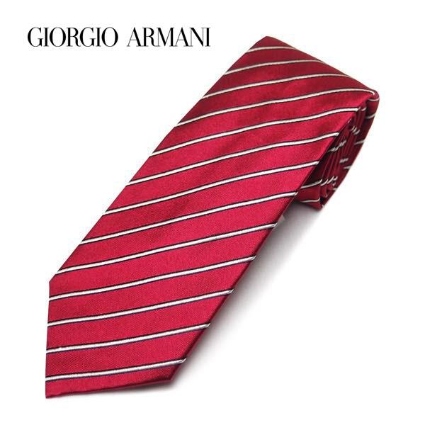 (ジョルジオアルマーニ)GIORGIO ARMANI ストライプネクタイ レギュラータイ シルク レッド系 9A919 00074