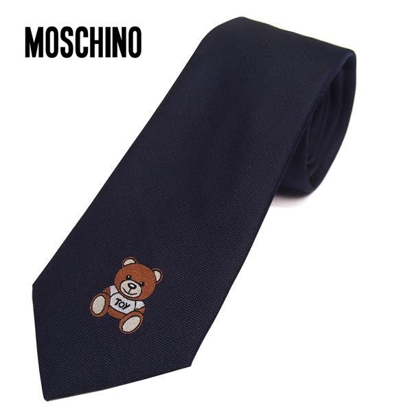 MOSCHINO モスキーノ テディベアワンポイント柄 ナロータイ ブラック メンズ シルク(サイズ剣幅7.5cm) M5180