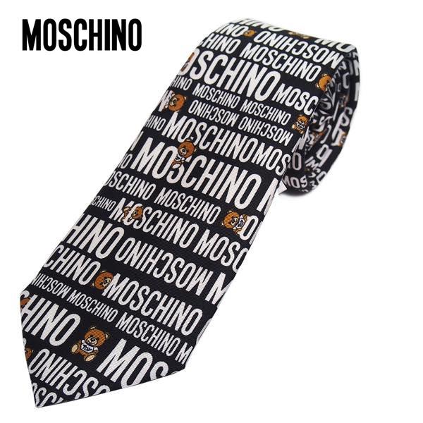MOSCHINO モスキーノ テディーベア&ロゴパターン柄 ナロータイ ブラック メンズ シルク(サイズ剣幅7.5cm) M5354-1