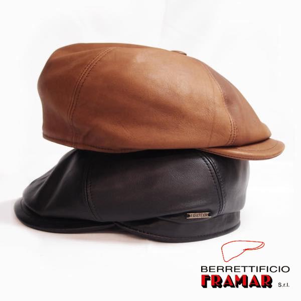 上質な羊皮を使用したレザーハンチング framar フラマー レザー六方ハンチング [正規販売店] メンズハンチング メンズ帽子 返品不可 送料無料