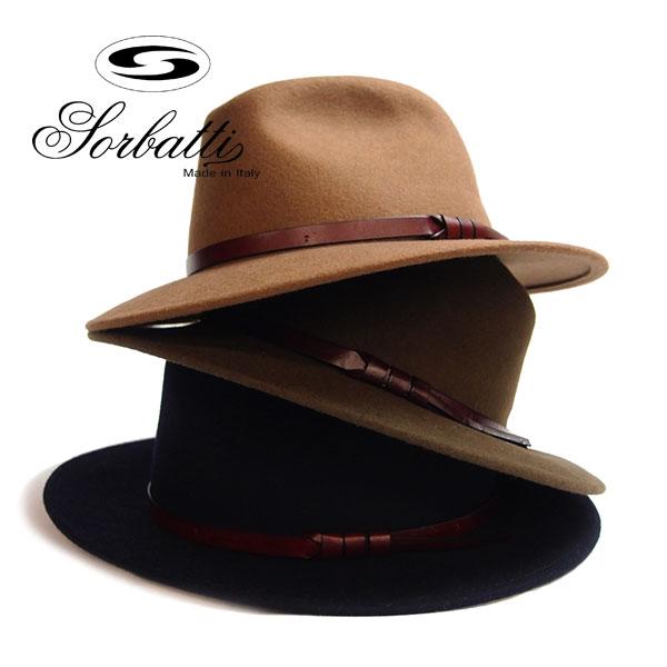 SORBATTI (ソルバッティ)細レザー巻き中折れ スーツ帽子 送料無料