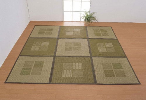 緑茶染め い草アクセントラグ祇園 133×200/い草マット