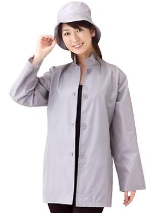 シルク立襟ショートコート帽子セット/レインウェア