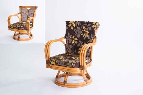 テレビを見る 本を読む 回転式だからくつろげます 豪華な 超美品再入荷品質至上 ラタン 回転椅子 ミドルタイプ GNM17M