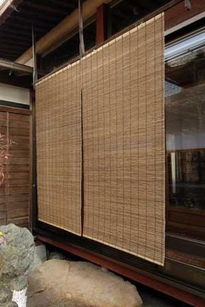 琵琶湖外吊用簾(すだれ) 代萩 二枚桟 大 W88cm×H160cm(日除け、目隠し効果)