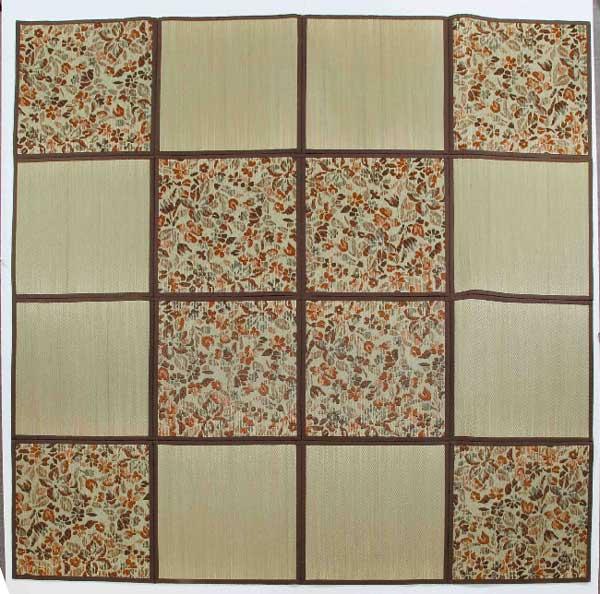 折りたたみ い草アクセントラグ 花園 約 266×266cm