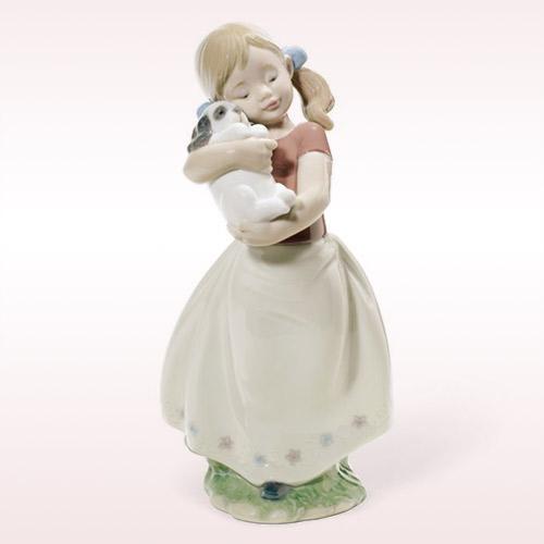 LLADRO リヤドロ かわいい! 8531 陶器人形 置物 少女 女の子 犬