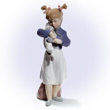 リヤドロ LLADRO 具合はいかが? 8544 陶器人形 置物 少女 猫
