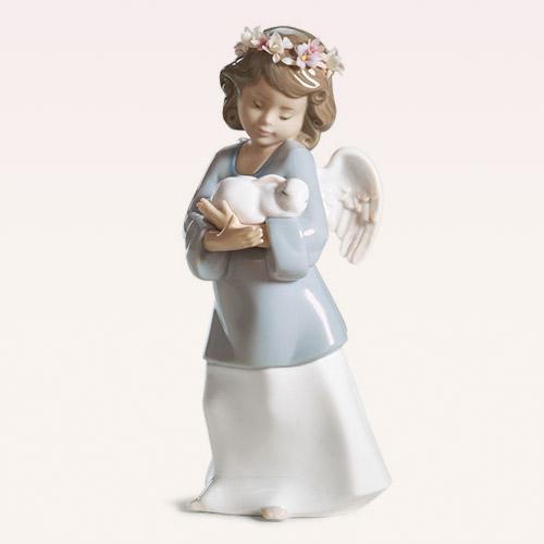 リヤドロ LLADRO 天使の宝もの 6856 陶器人形 置物 エンジェル うさぎ 花