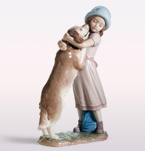 リヤドロ LLADRO 待ってたよ! 6903 陶器人形 置物 少女 犬