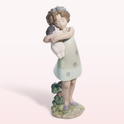 LLADRO リヤドロ そっと抱きしめて 8241 陶器人形 置物 少女 犬