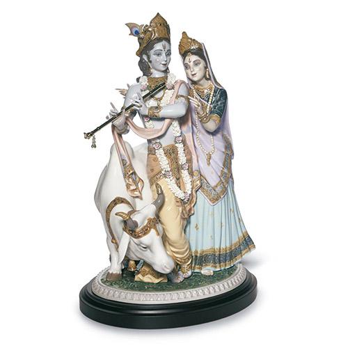 リヤドロ LLADRO ラダとクリシュナ 1910 限定3000体 陶器人形 置物 カップル ウェディング ブライダル 結婚祝い インド ヒンドゥー教