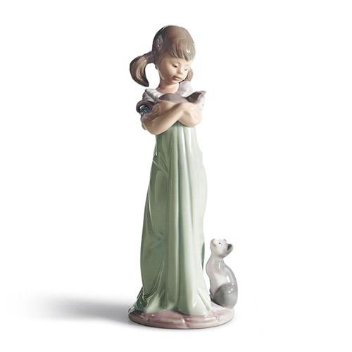 リヤドロ LLADRO 私の事も忘れないで 5743 陶器人形 置物 少女 女の子 ネコ 動物 親子 母と子