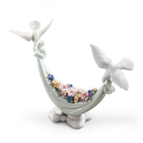 リヤドロ LLADRO 平和の花かご 6579 陶器人形 置物 鳩 鳥