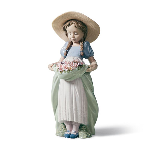 LLADRO リヤドロ たくさん摘めたよ 6756 陶器人形 置物 花 少女 帽子