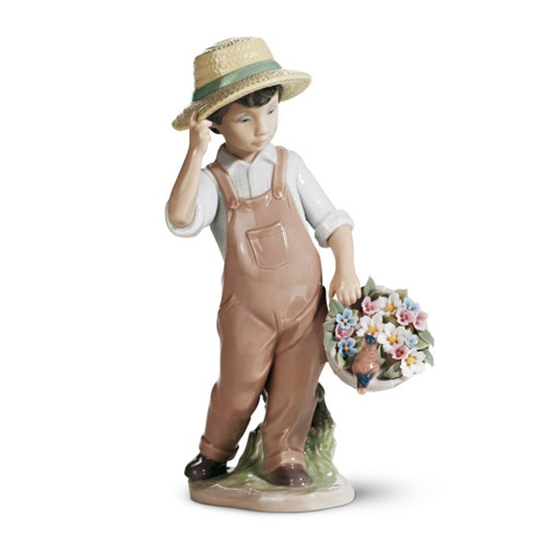 LLADRO リヤドロ 楽しいお友達 6824 陶器人形 置物 花 少年 小鳥
