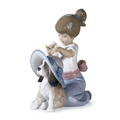 リヤドロ LLADRO おめかししようね 6862 陶器人形 置物 少女 女の子 犬 動物