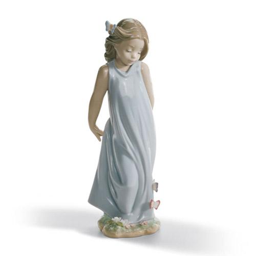 LLADRO リヤドロ 蝶とお友達 6963 陶器人形 置物 少女 花