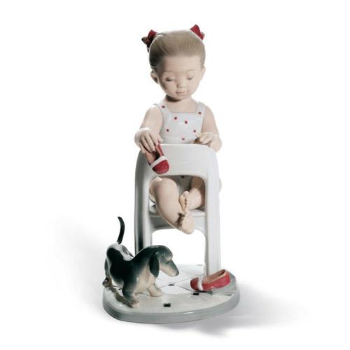 LLADRO リヤドロ 隠しちゃだめよ 8524 陶器人形 置物 少女 犬