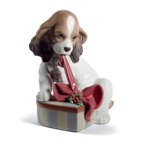 リヤドロ LLADRO 待ちきれなくて(スペシャルバージョン) 8692 陶器人形 置物 犬 クリスマス