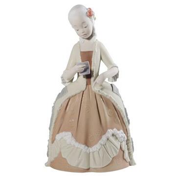 NAO ナオ ロココガール(レター) 1720 陶器人形 置物 リヤドロ姉妹ブランド 少女