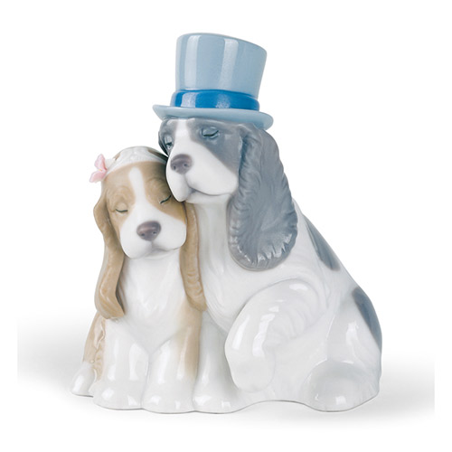 NAO ナオ 可愛いカップル 1480 陶器人形 置物 リヤドロ姉妹ブランド 犬 結婚祝い
