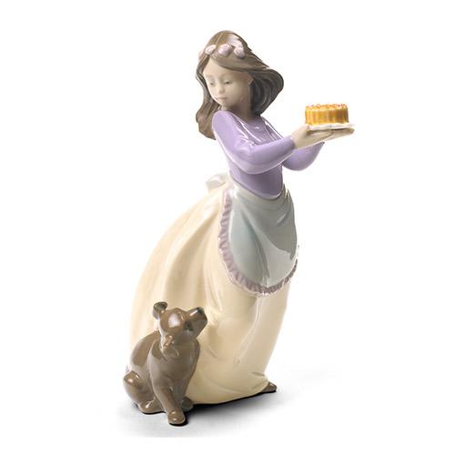 NAO ナオ 仔犬の誕生日(スペシャルバージョン) 1700 陶器人形 置物 リヤドロ姉妹ブランド 少女 ケーキ