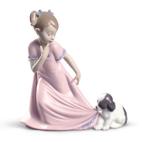 NAO ナオ ひっぱらないで(スペシャルバージョン) 1829 陶器人形 置物 リヤドロ姉妹ブランド 少女 犬 動物