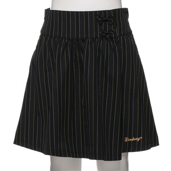 リンジィ(Lindsay)リボンつきストライプ柄スカート